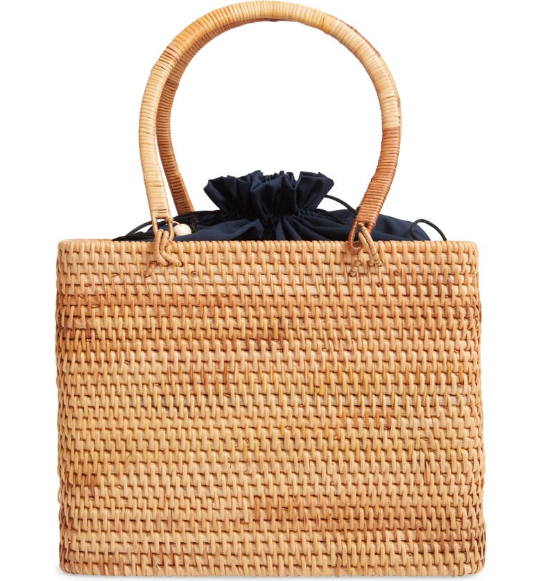 KNOTTY Woven Rattan Top Handle Bag, Main, color, NATURAL