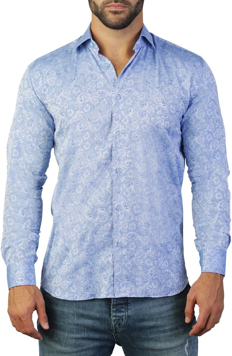 MACEOO Fibonacci Instyle Regular Fit Cotton Shirt, Main, color, BLUE