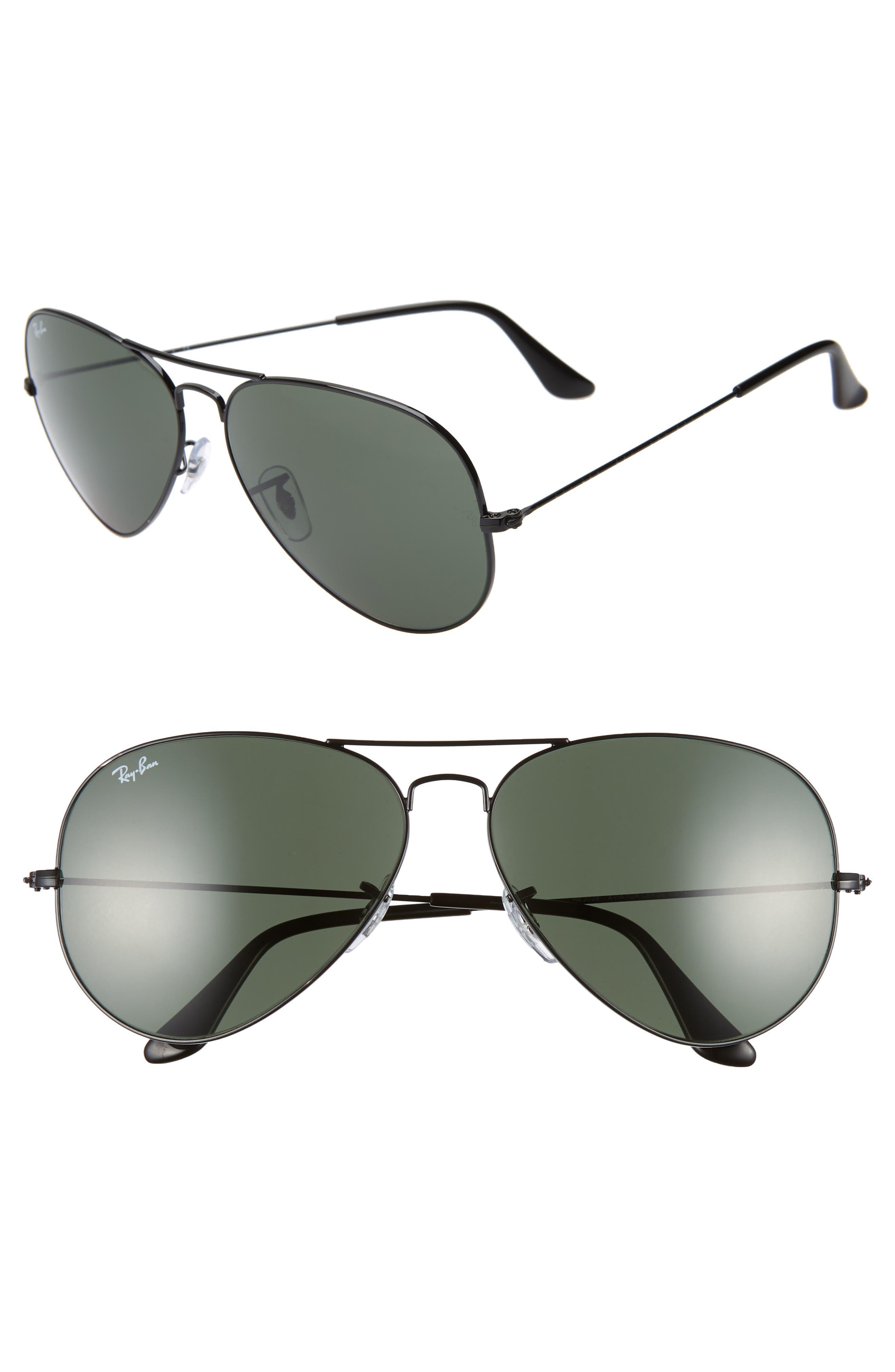 Ray-Ban 62Mm Aviator Sunglasses - Black/ Green Solid