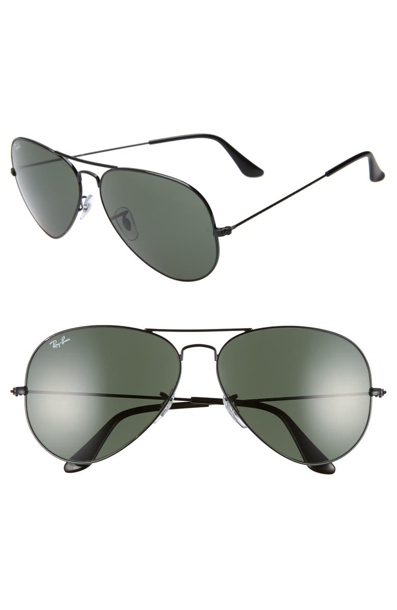 RAY-BAN 62mm Aviator Sunglasses, Main, color, BLACK/ GREEN SOLID