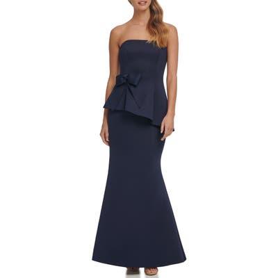Eliza J Strapless Peplum Waist Mermaid Gown, Blue