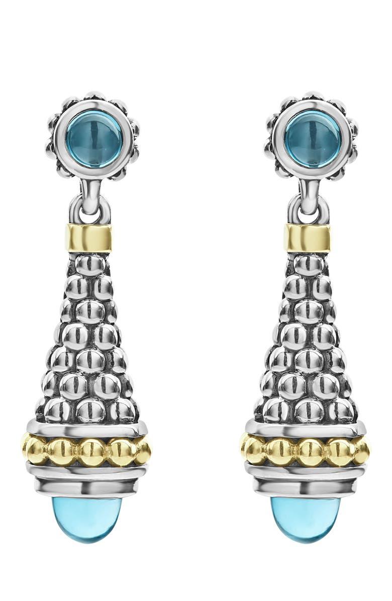 LAGOS Signature Caviar Stone Cap Drop Earrings, Main, color, 400