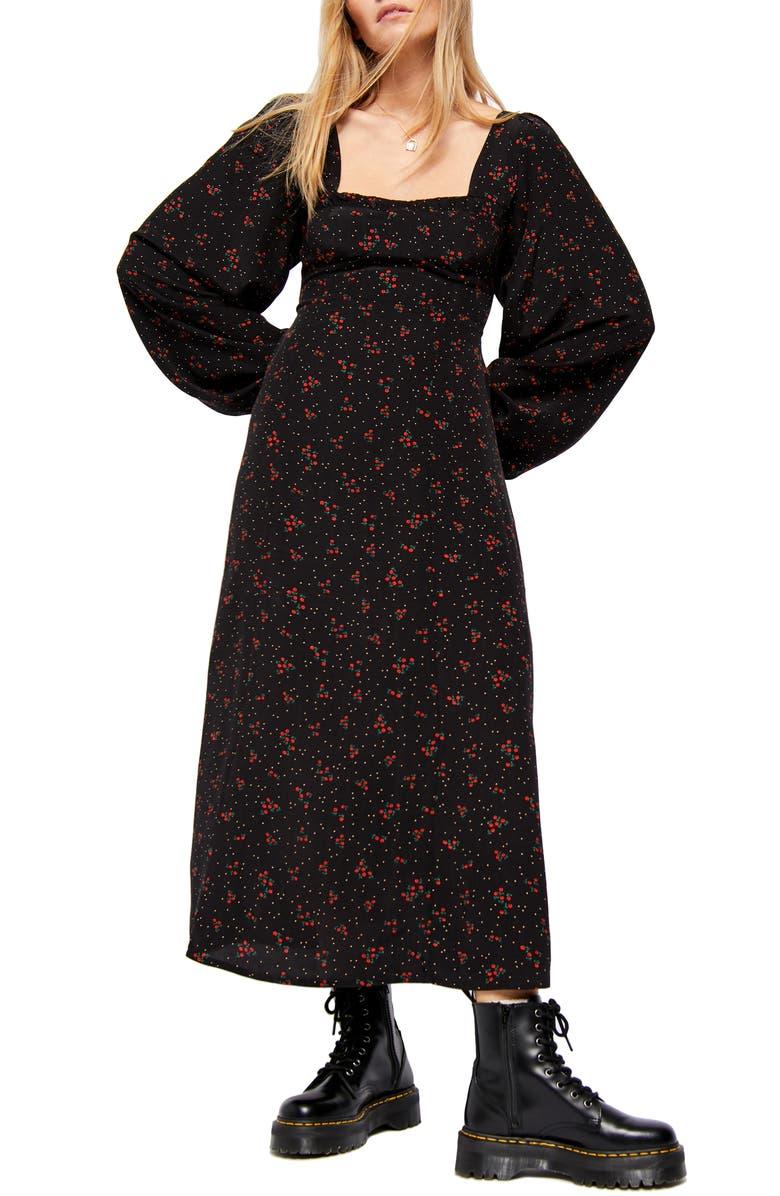 FREE PEOPLE Iris Floral Long Sleeve Midi Dress, Main, color, 001