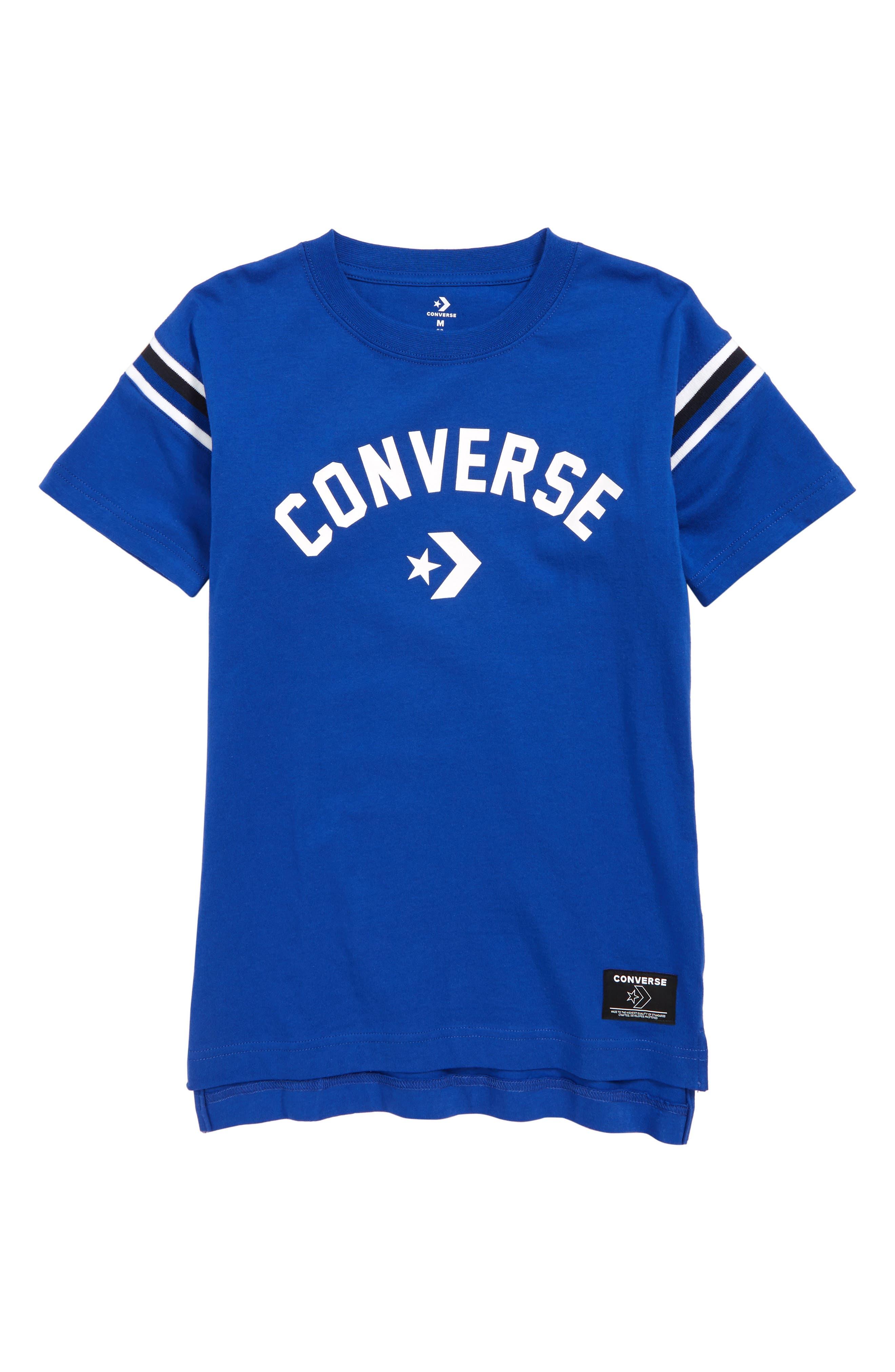 ,                             Split Hem T-Shirt,                             Main thumbnail 1, color,                             CONVERSE BLUE