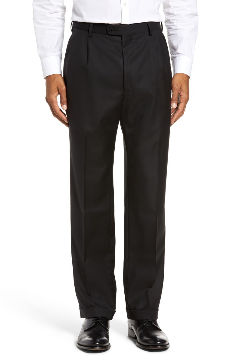 ZANELLA Bennett Straight Leg Pleated Dress Pants, Main, color, BLACK