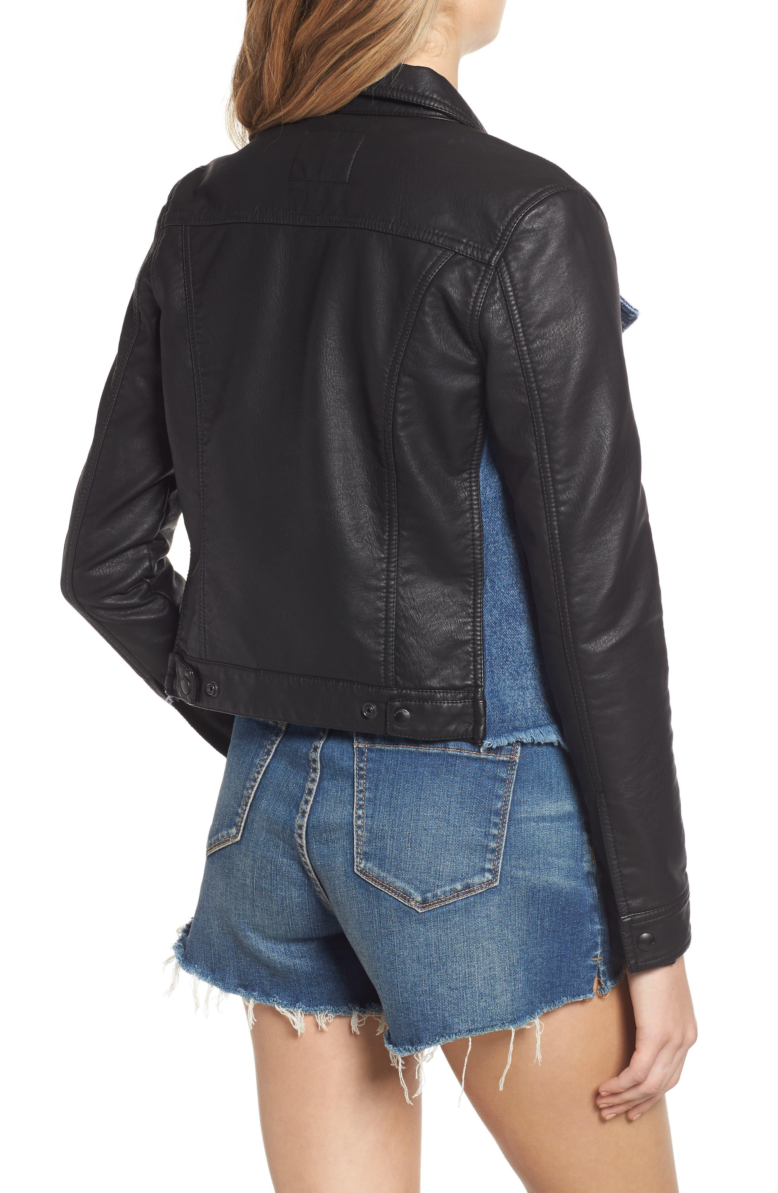 ,                             Faux Leather & Denim Jacket,                             Alternate thumbnail 2, color,                             001