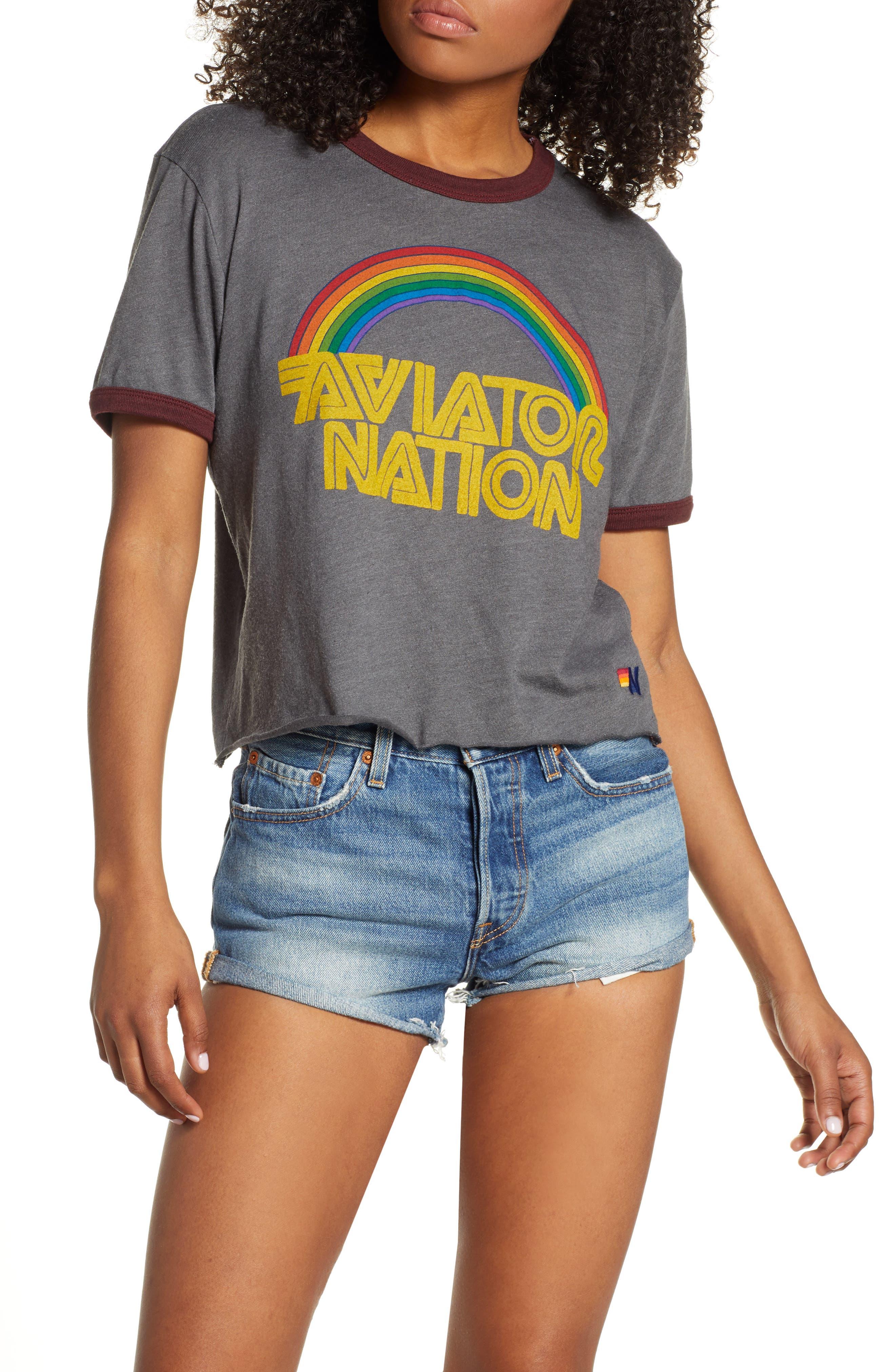 Women's 70s Shirts, Blouses, Hippie Tops Womens Aviator Nation 70S Boyfriend Ringer Tee $83.00 AT vintagedancer.com