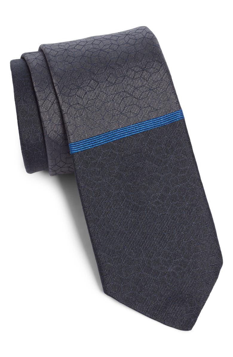 TITLE OF WORK Stripe Silk Tie, Main, color, BLACK/ BLUE