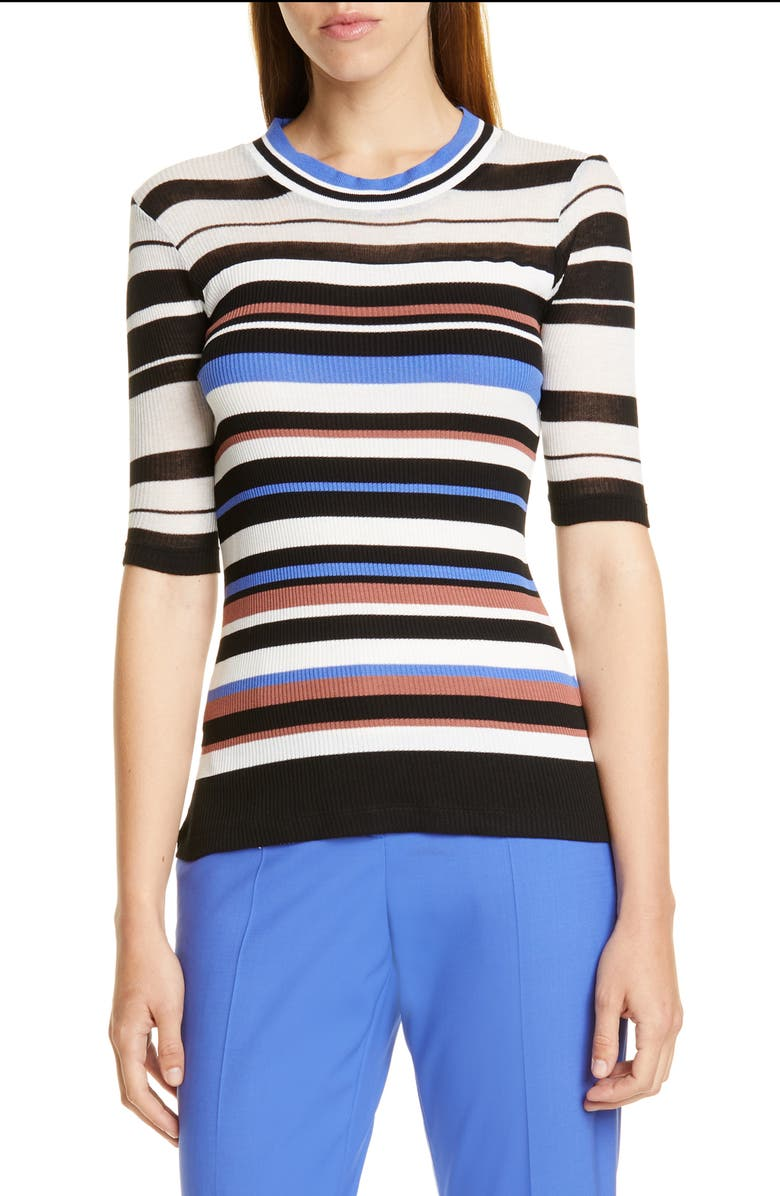 BOSS Elauren Stripe Top, Main, color, BLACK FANTASY