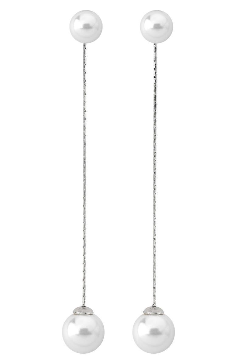 MAJORICA Simulated Pearl Linear Earrings, Main, color, 040