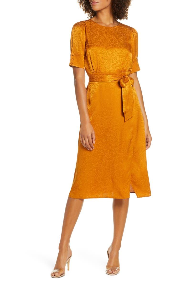 ALI & JAY Edison Nights Jacquard Dress, Main, color, MUSTARD