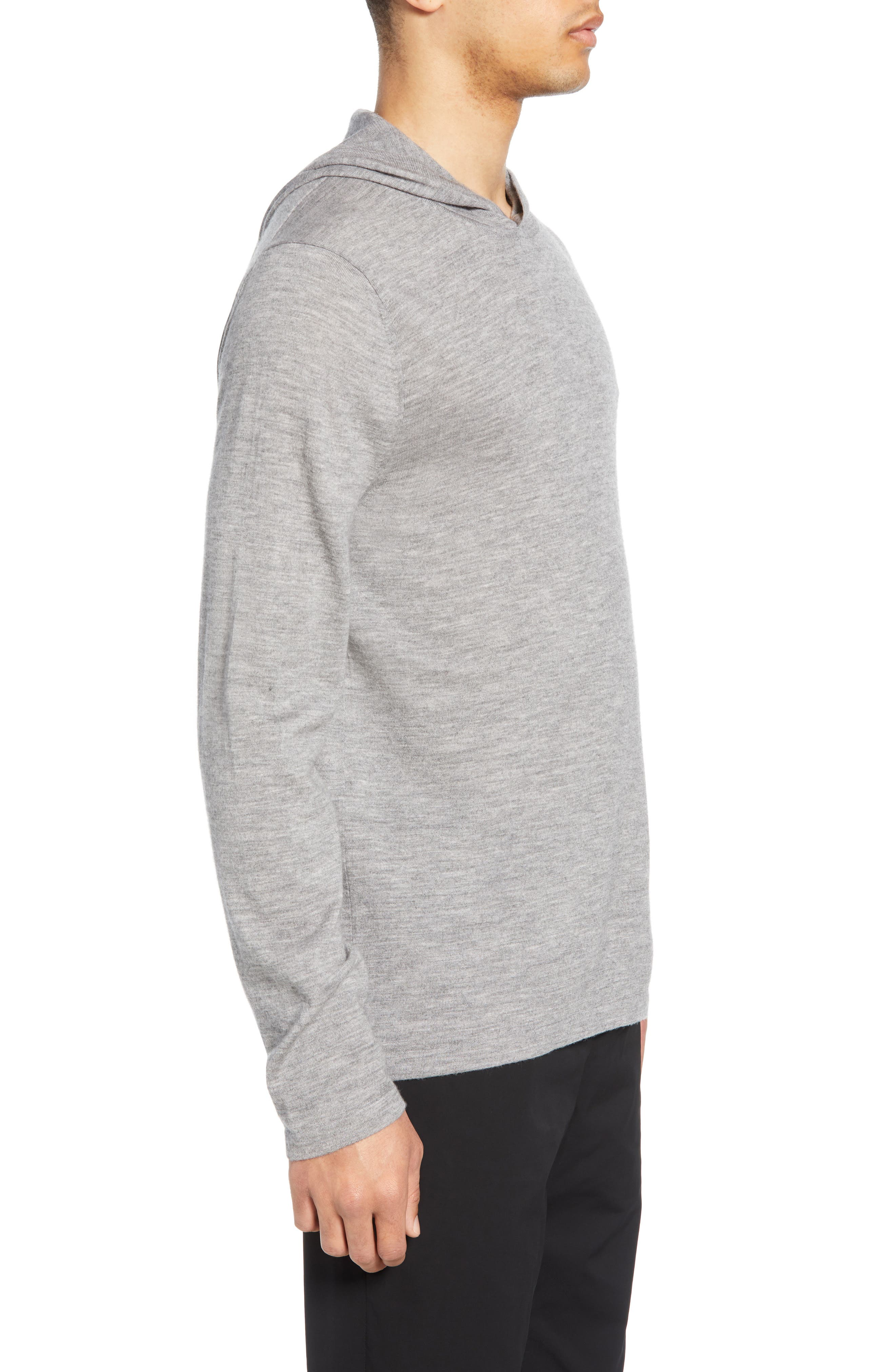 ,                             Wool & Cashmere Pullover Hoodie,                             Alternate thumbnail 3, color,                             H GREY