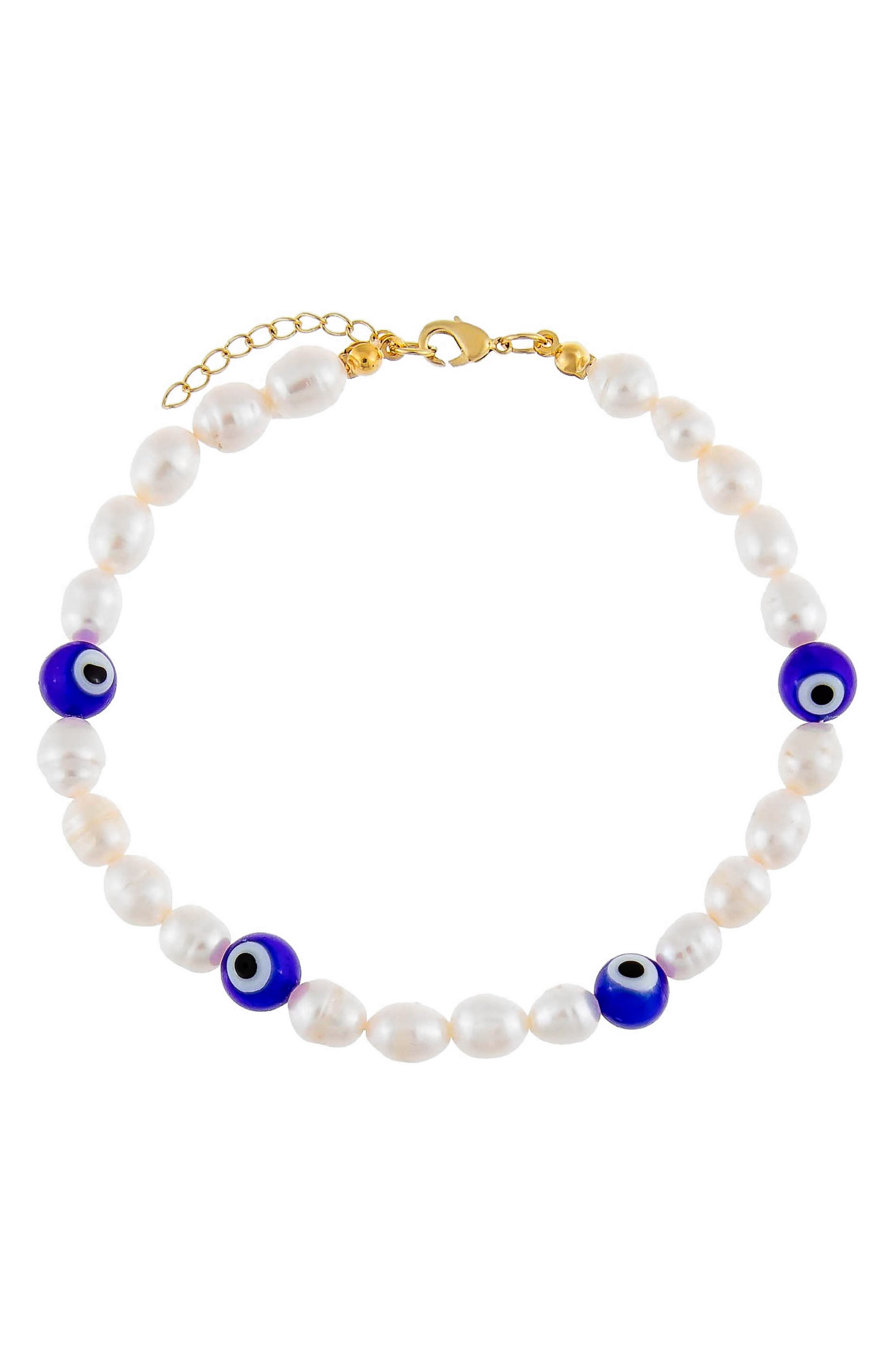 Women's Adina's Jewels Freshwater Pearl Evil Eye Station Anklet