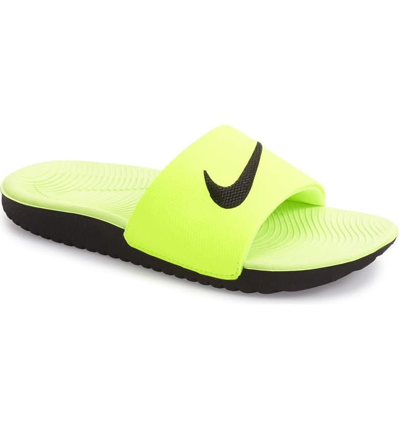 NIKE 'Kawa' Slide Sandal, Main, color, VOLT/ BLACK