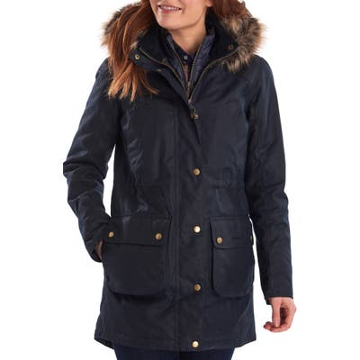 Barbour Thrunton Waxed Cotton Jacket With Faux Fur Trim