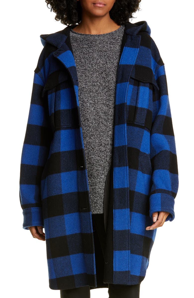 RAG & BONE Beck Buffalo Check Hooded Wool Blend Coat, Main, color, 001