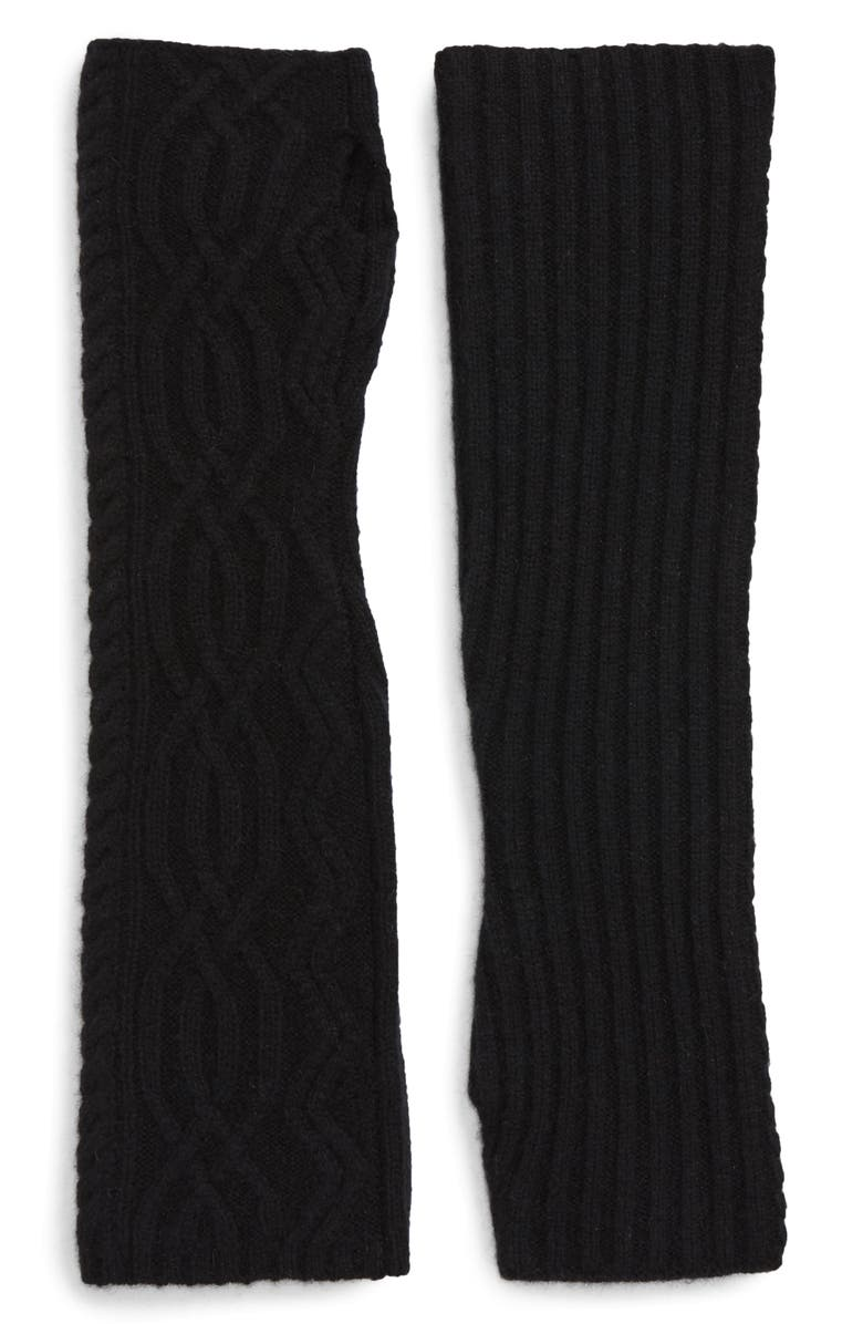HALOGEN<SUP>®</SUP> Cable Knit Cashmere Arm Warmers, Main, color, BLACK