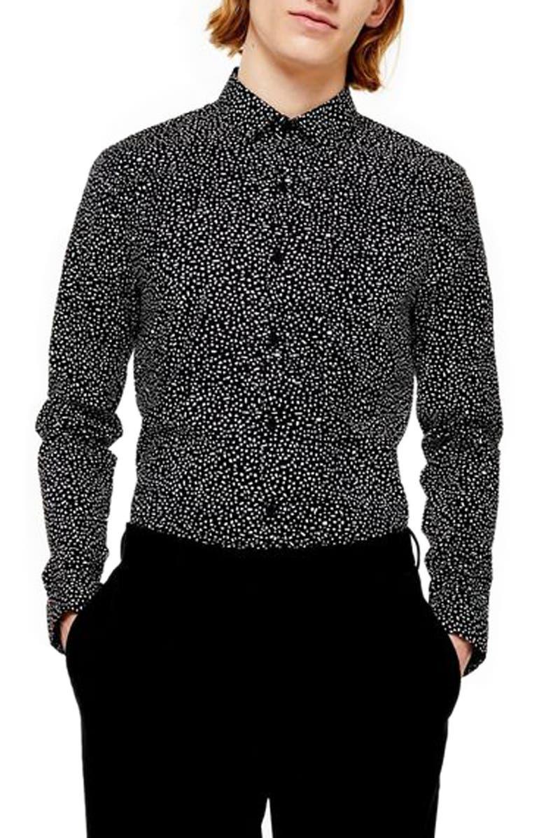 TOPMAN Trim Fit Spot Print Stretch Cotton Button-Up Shirt, Main, color, BLACK MULTI