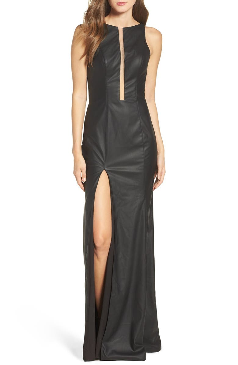 LA FEMME Faux Leather Open Back Gown, Main, color, BLACK