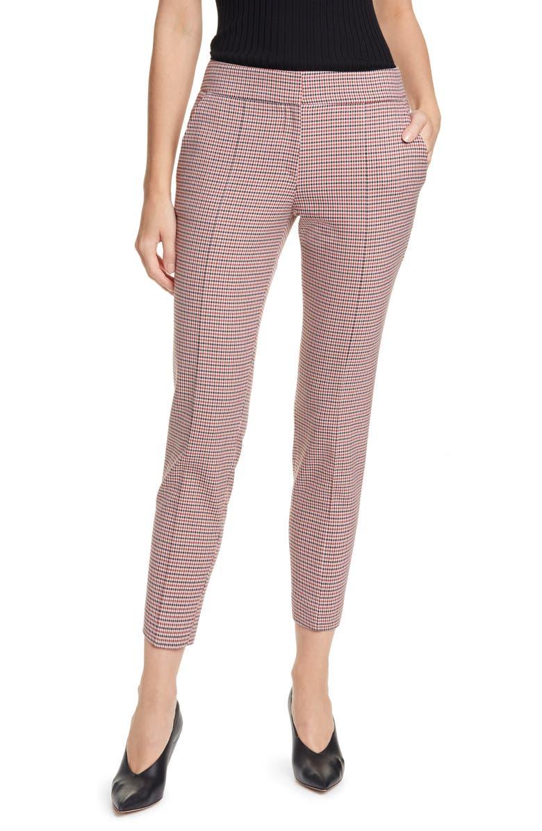 HUGO Hevas Check Crop Suit Pants, Main, color, COPPER FANTASY