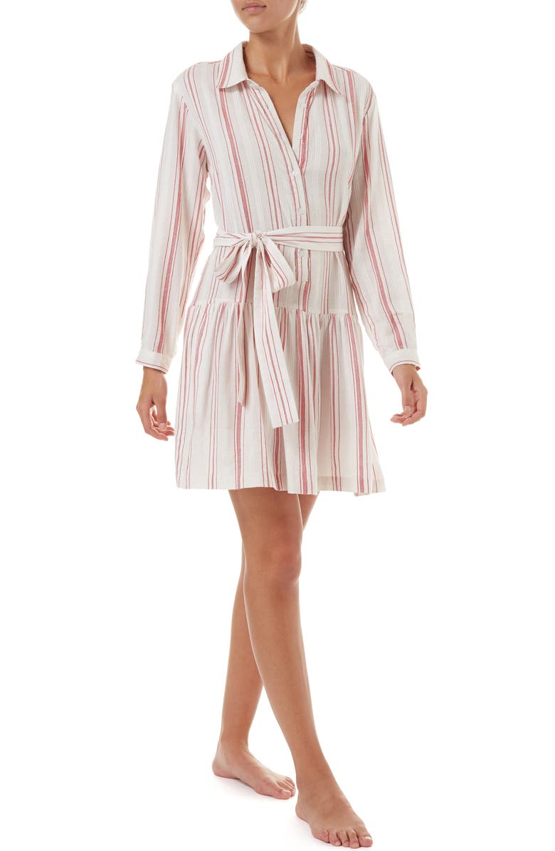 MELISSA ODABASH Amelia Cover-Up Shirtdress, Main, color, RED STRIPE