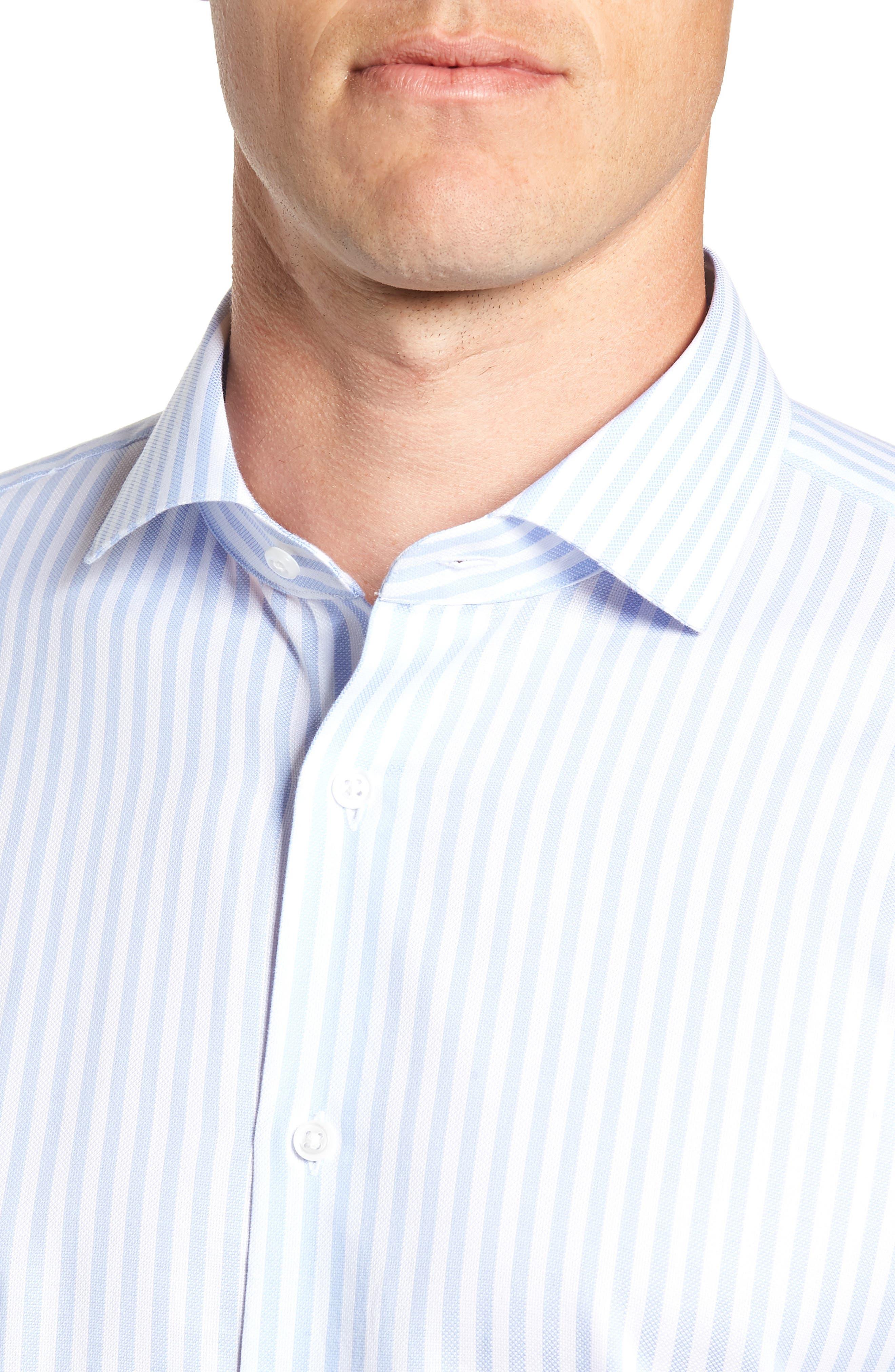 ,                             Trim Fit Stripe Dress Shirt,                             Alternate thumbnail 2, color,                             BLUE STORK