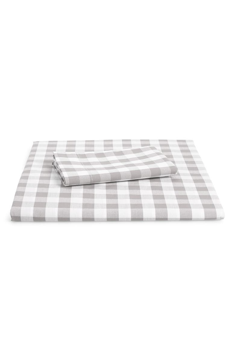 THE WHITE COMPANY Reversible Gingham Toddler Bed Duvet Cover & Sham Set, Main, color, COOL GREY