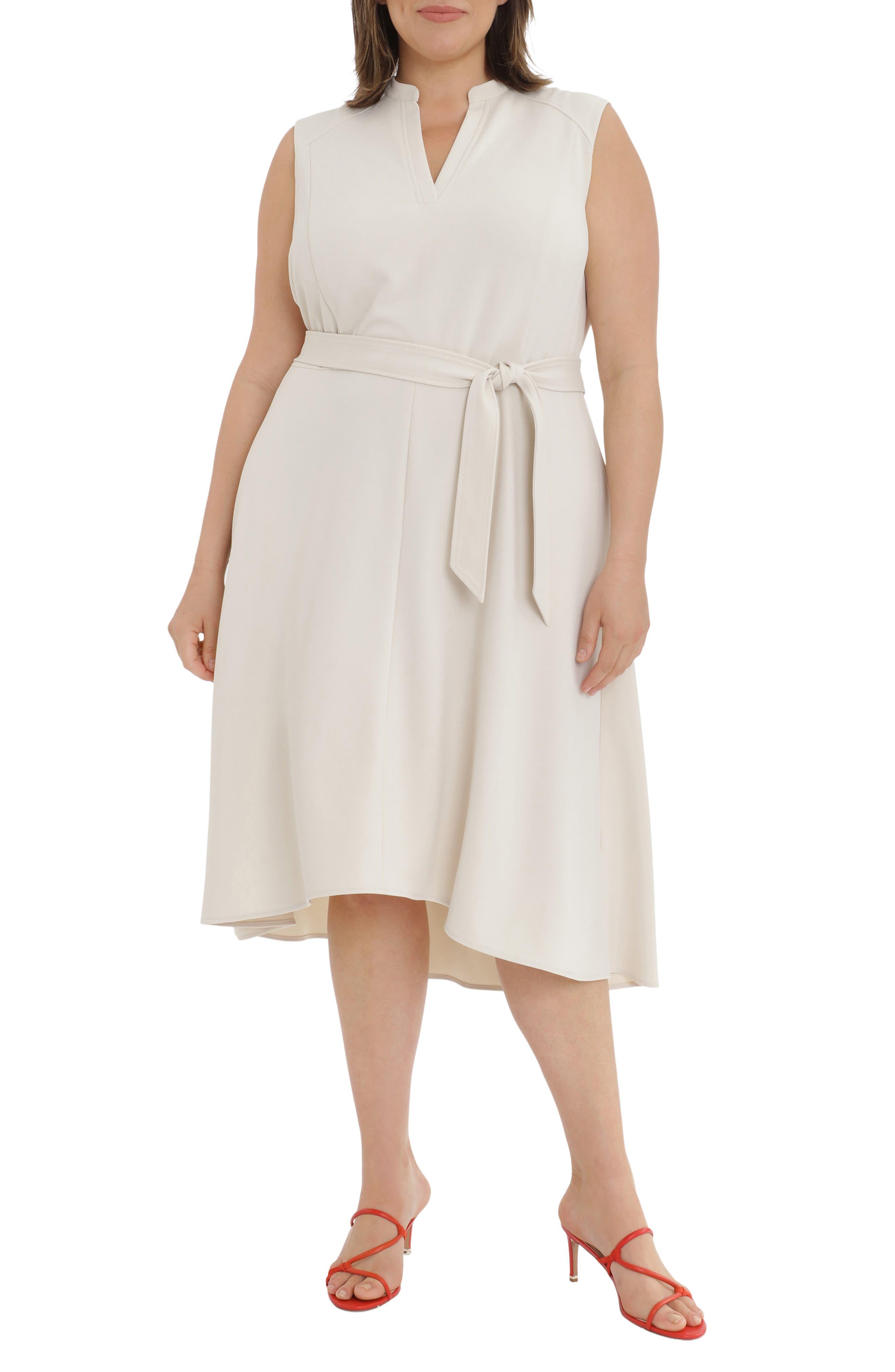 Seamed Sleeveless Fit & Flare Midi Dress