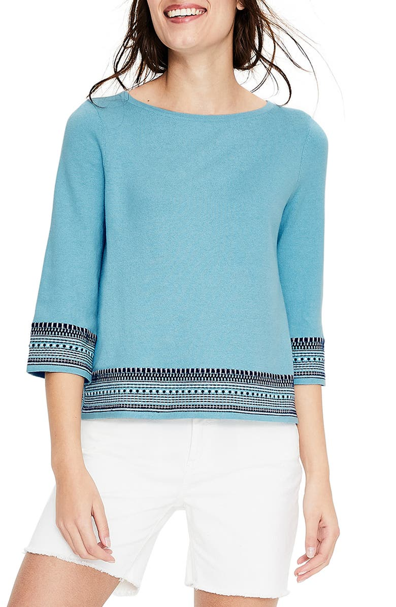 BODEN Colette Embroidered Sweater, Main, color, 454