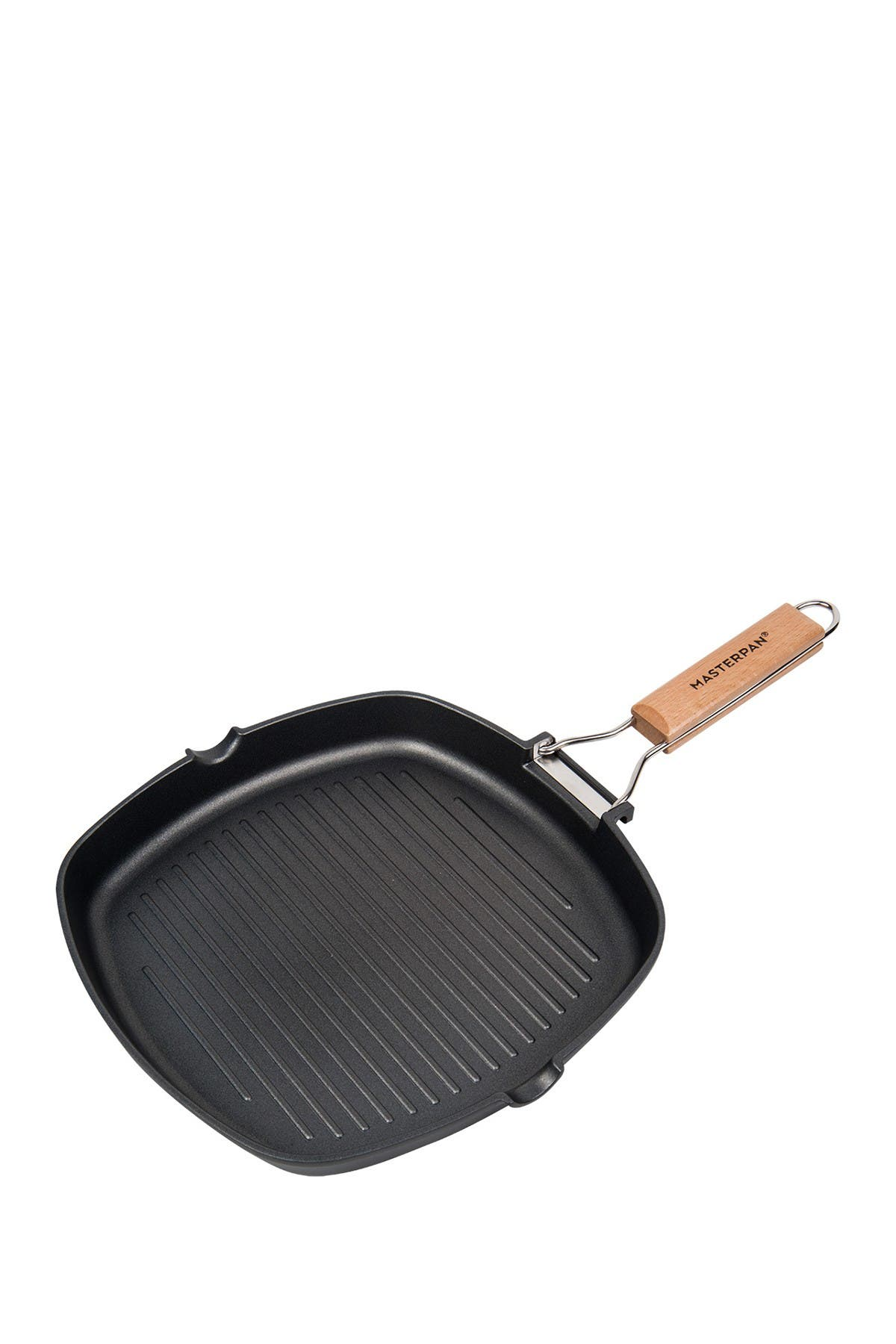 "Image of MASTERPAN Black Non-Stick 8"" Grill Pan with Folding Wooden Handle"