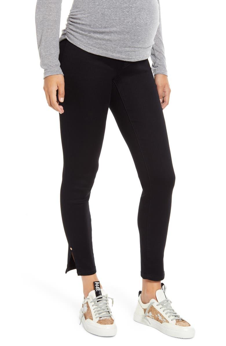 1822 DENIM Butter Ankle Slit Maternity Jeans, Main, color, BLACK