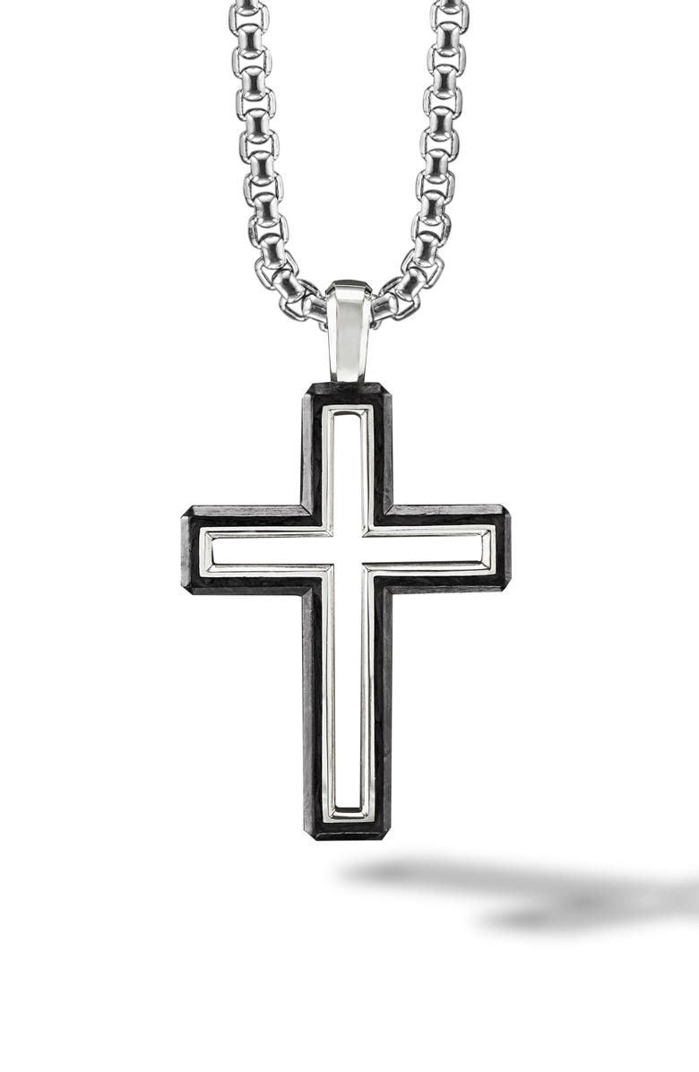DAVID YURMAN Forged Carbon Cross Pendant, Main, color, FORGED CARBON