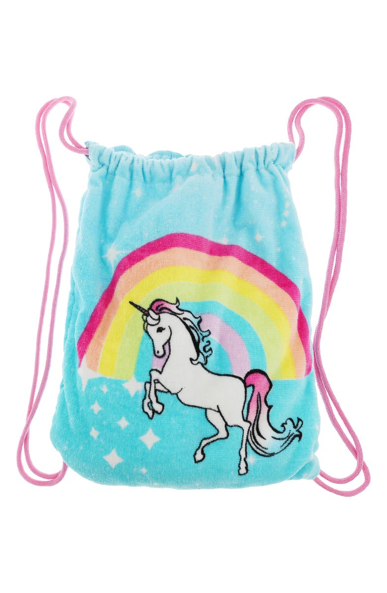 CAPELLI NEW YORK Sparkly Unicorn Rainbow Towel Backpack, Main, color, MINT