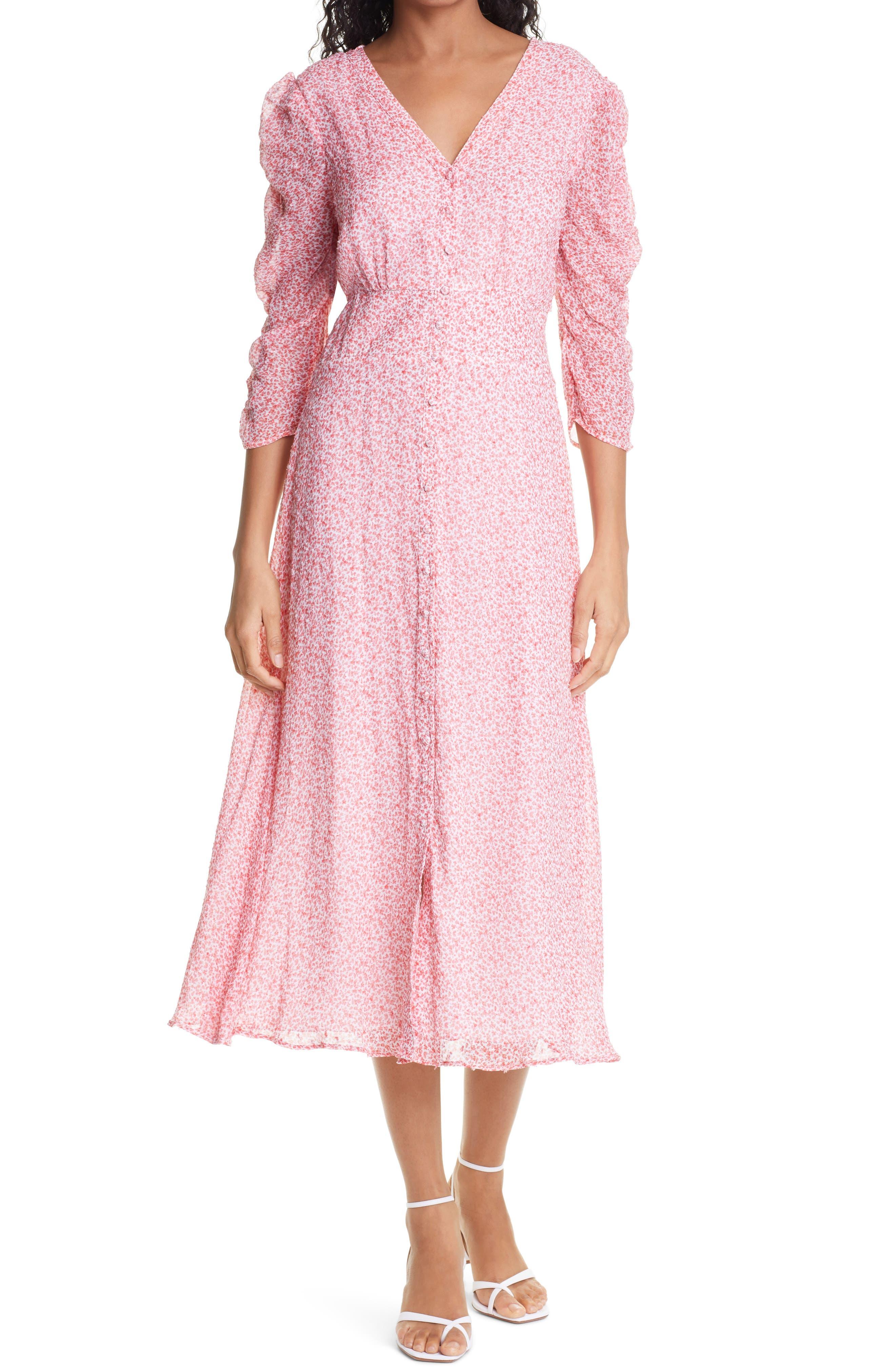 Ditsy Floral Dobby Chiffon Midi Dress