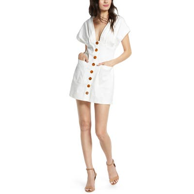 Finders Keepers Jade Button Front Minidress, Ivory