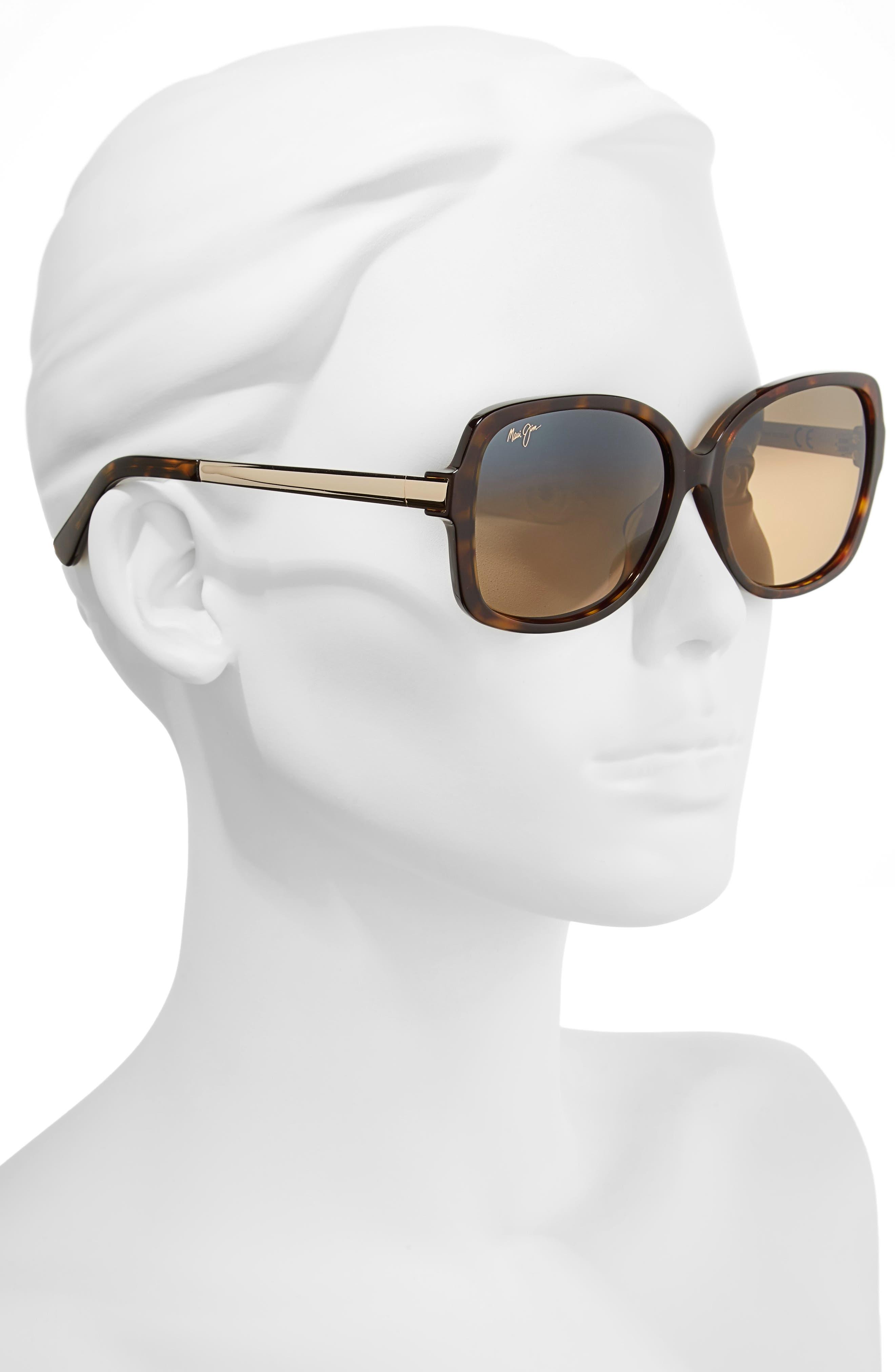 ,                             Melika 58mm Polarized Square Sunglasses,                             Alternate thumbnail 2, color,                             DARK TORTOISE GOLD/ BRONZE