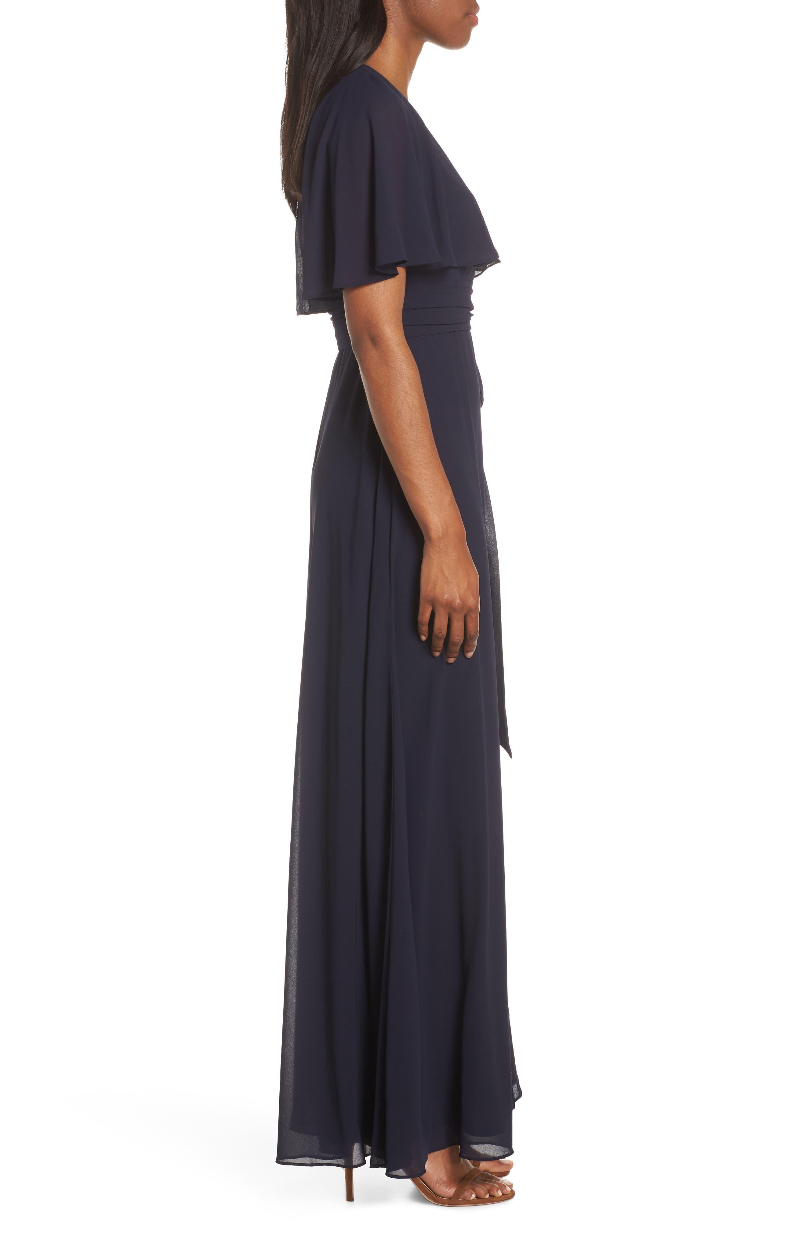 ,                             V-Neck Faux Wrap Chiffon Gown,                             Alternate thumbnail 4, color,                             NAVY