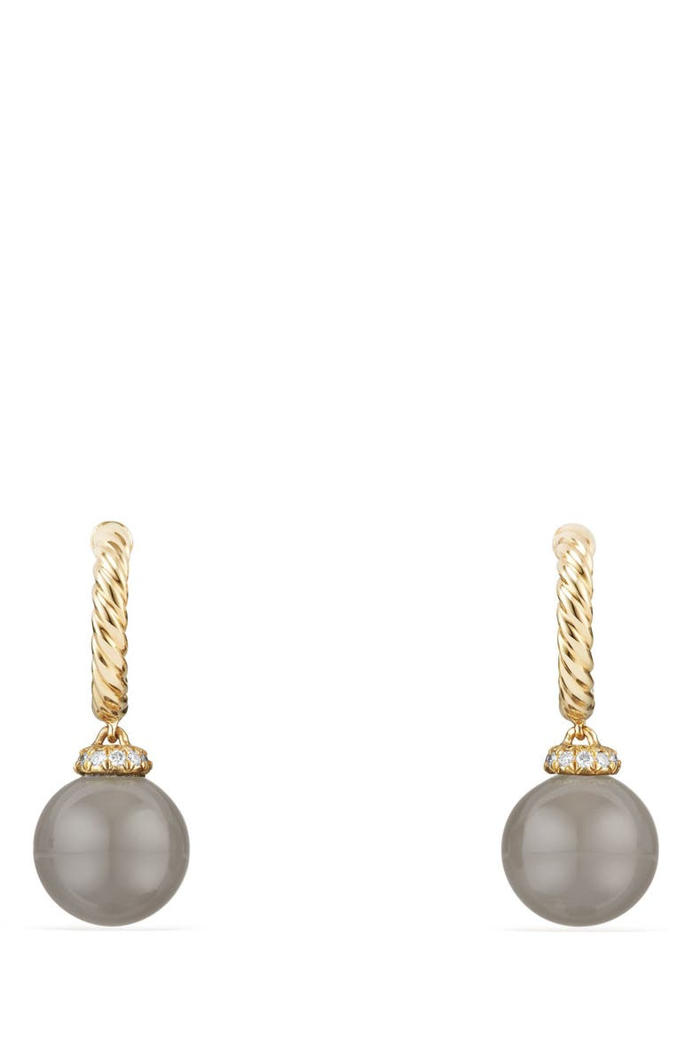 DAVID YURMAN Solari Hoop Earrings with Diamonds and Genuine Pearl, Main, color, GOLD/ DIAMOND/ GREY MOONSTONE