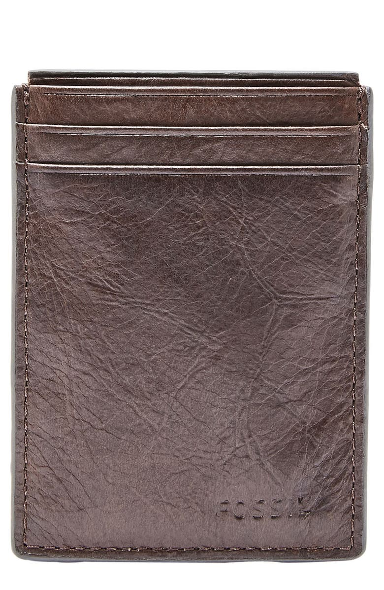 FOSSIL Neel Magnetic Leather Money Clip Card Case, Main, color, BROWN