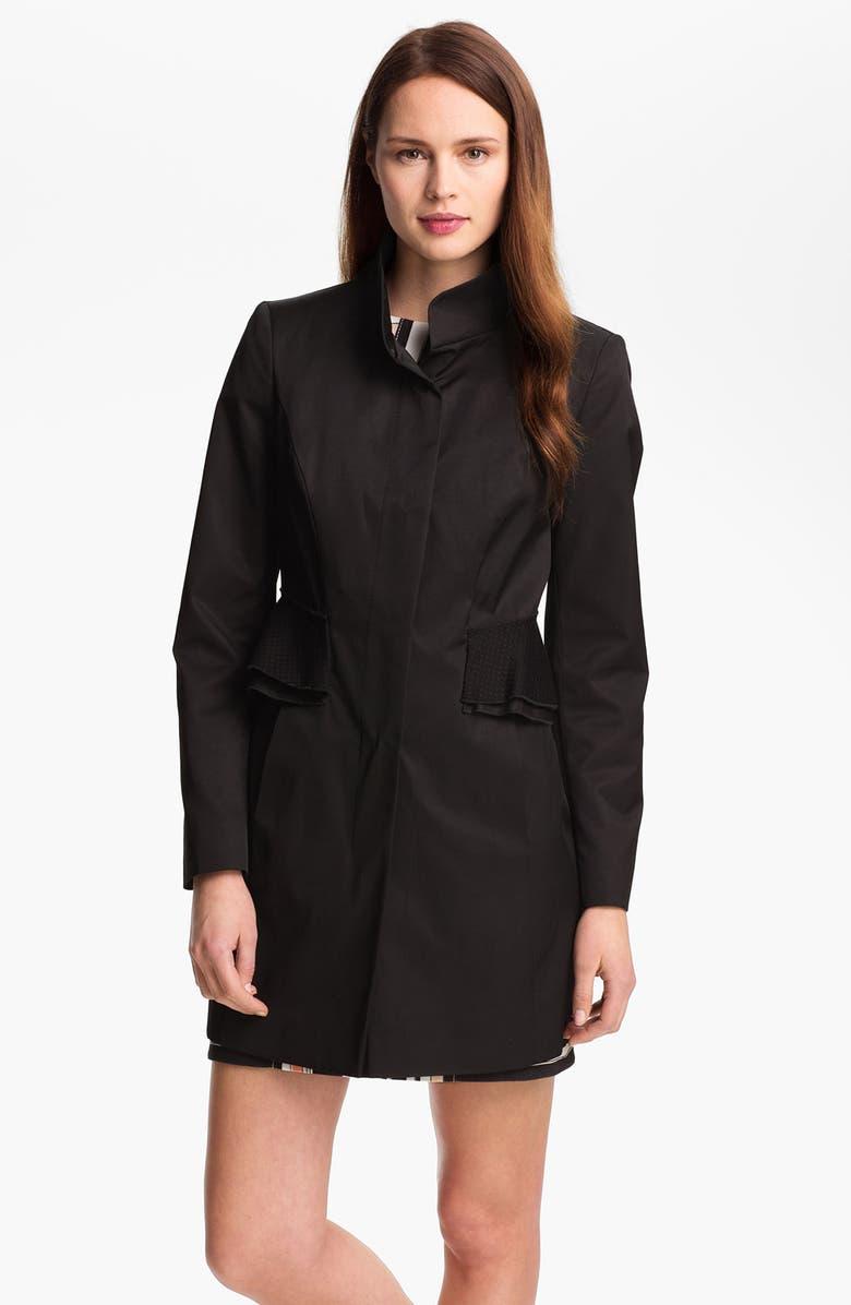 TAHARI 'Jenna' Peplum Walking Coat, Main, color, 001