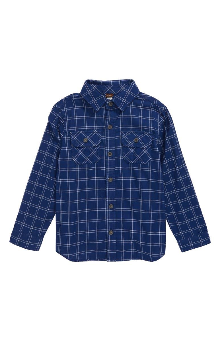 TEA COLLECTION Plaid Button-Up Shirt, Main, color, ANNAPURNA DOUBLE WEAVE