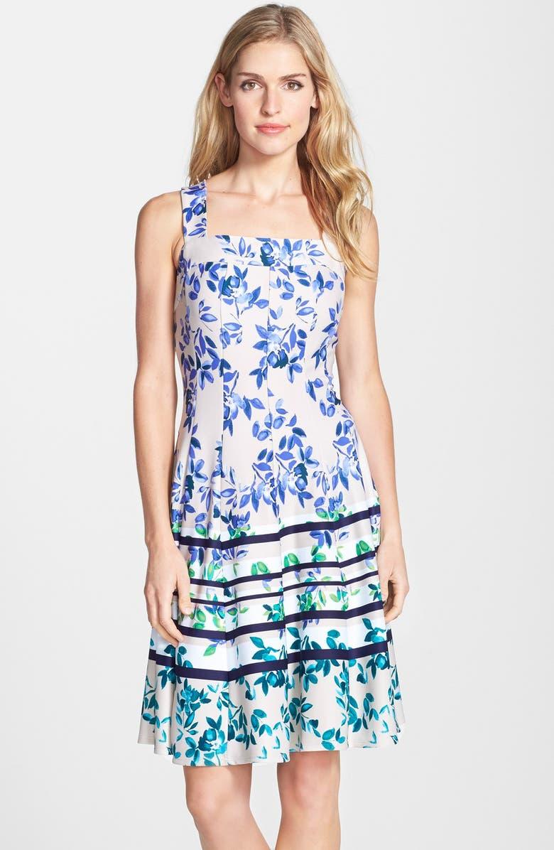 Gabby Skye Floral Print Scuba Fit Amp Flare Dress Nordstrom