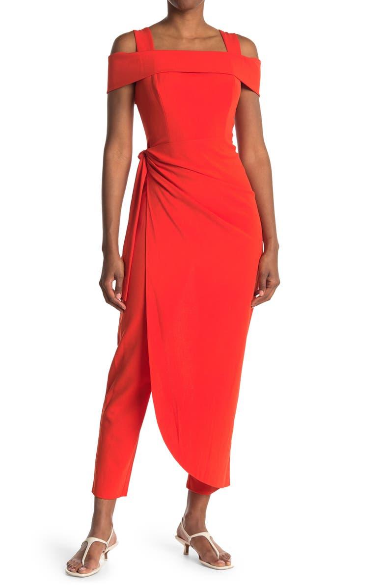 MARINA Cold Shoulder Waist Tie Overlay Jumpsuit, Main, color, ORANGE