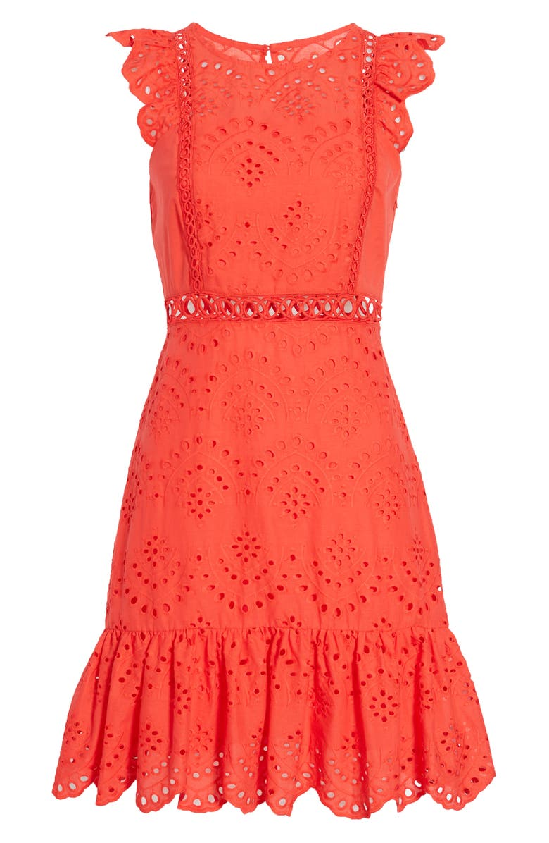 SAM EDELMAN Eyelet A-Line Dress, Main, color, CORAL