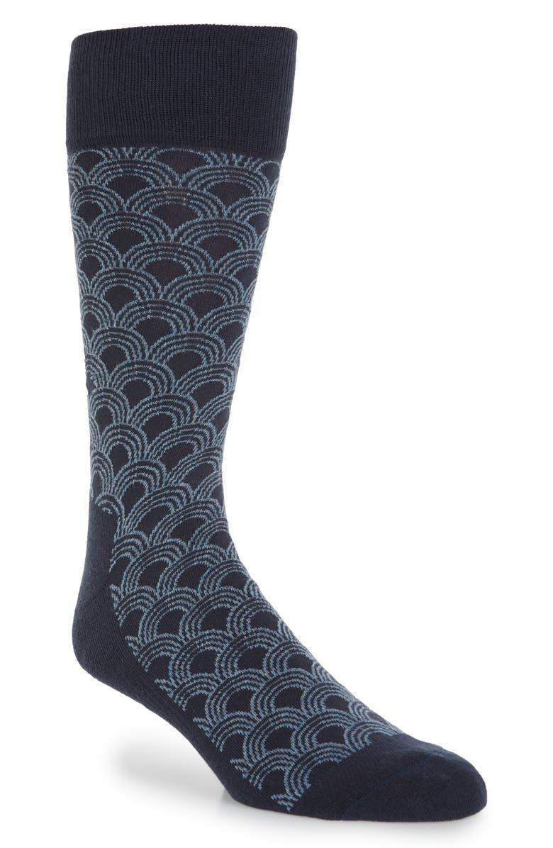 NORDSTROM MEN'S SHOP Geo Ocean Waves Socks, Main, color, NAVY/ BLUE