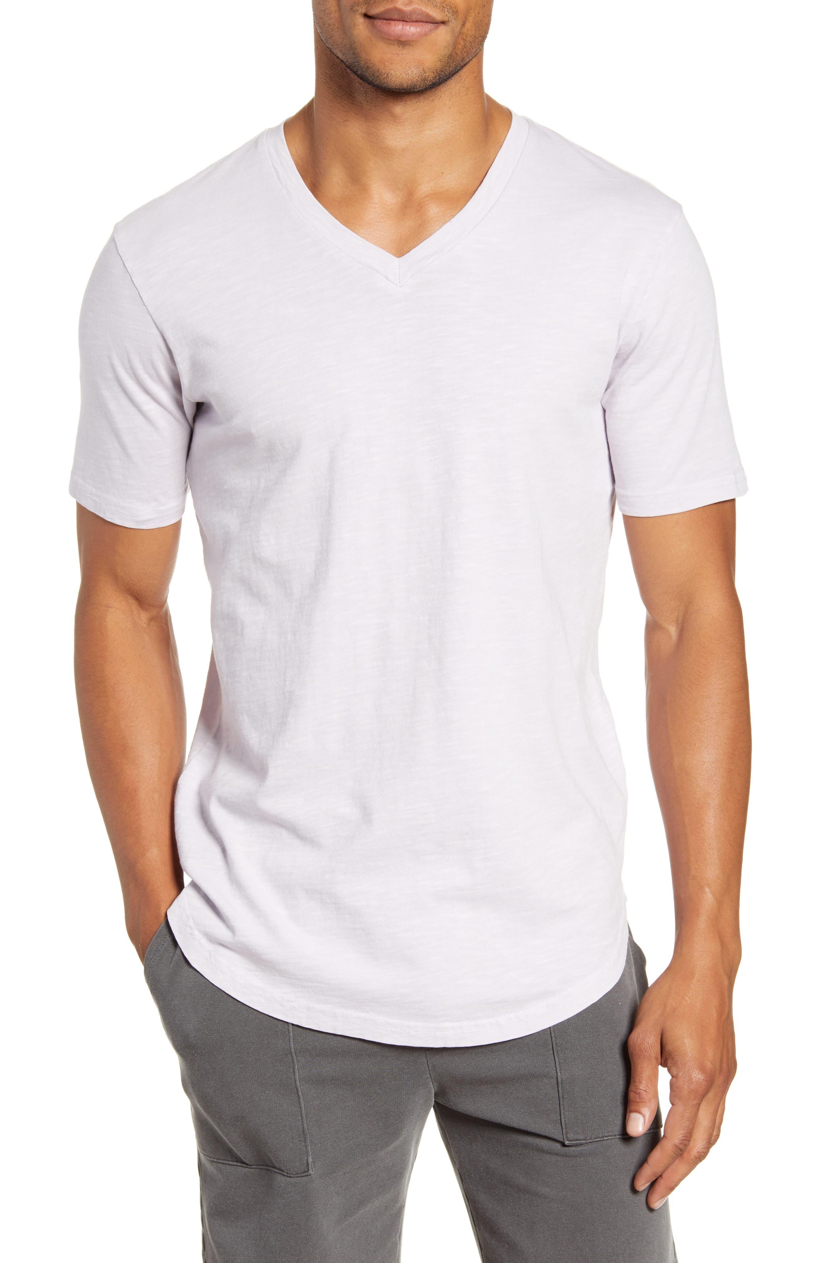 Sun Faded Curved Hem Cotton Slub T-Shirt