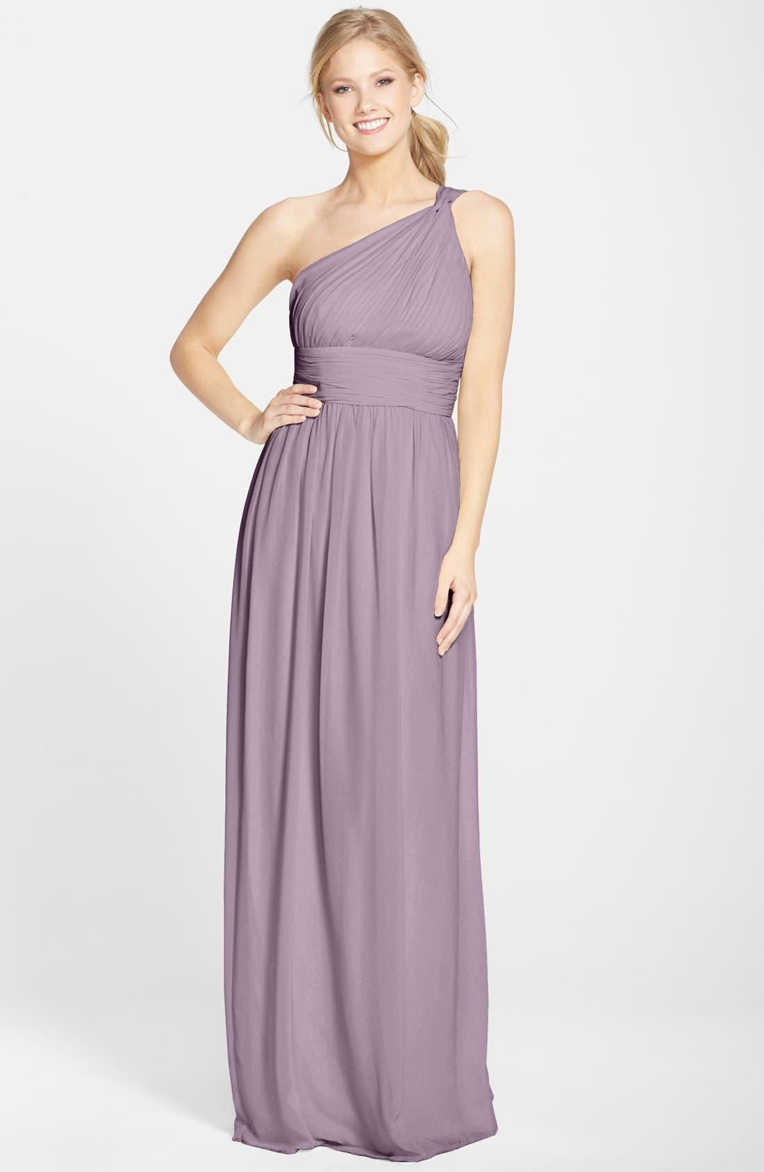 ,                             'Rachel' Ruched One-Shoulder Chiffon Gown,                             Main thumbnail 7, color,                             020