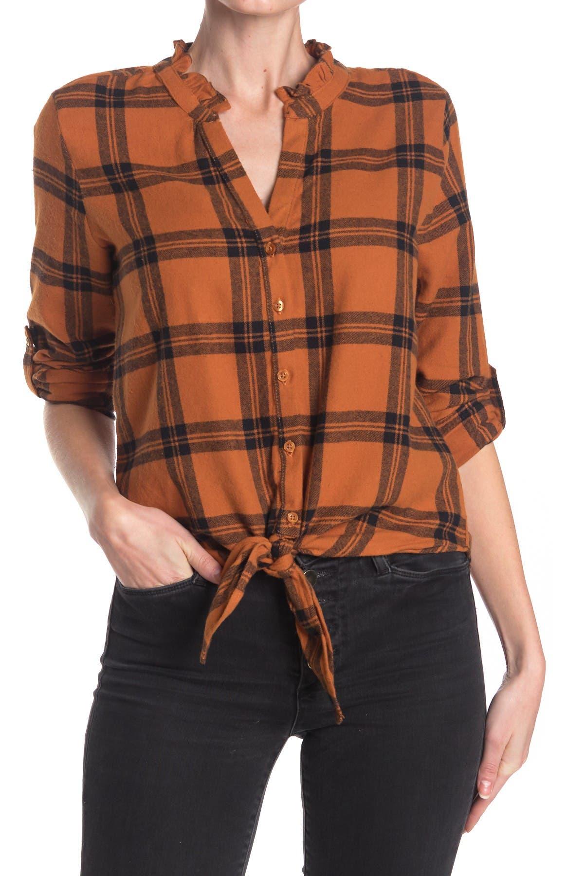 Image of Harve Benard Plaid Front Tie Flannel Shirt
