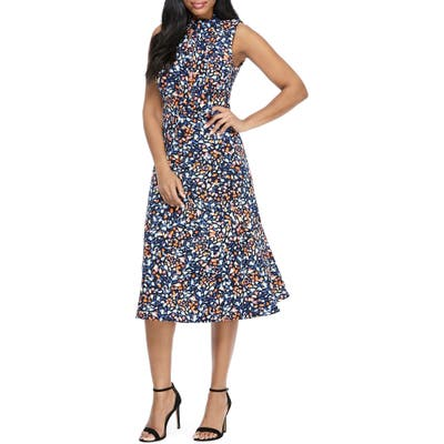 Maggy London Print Tie Neck Fit & Flare Dress, Blue