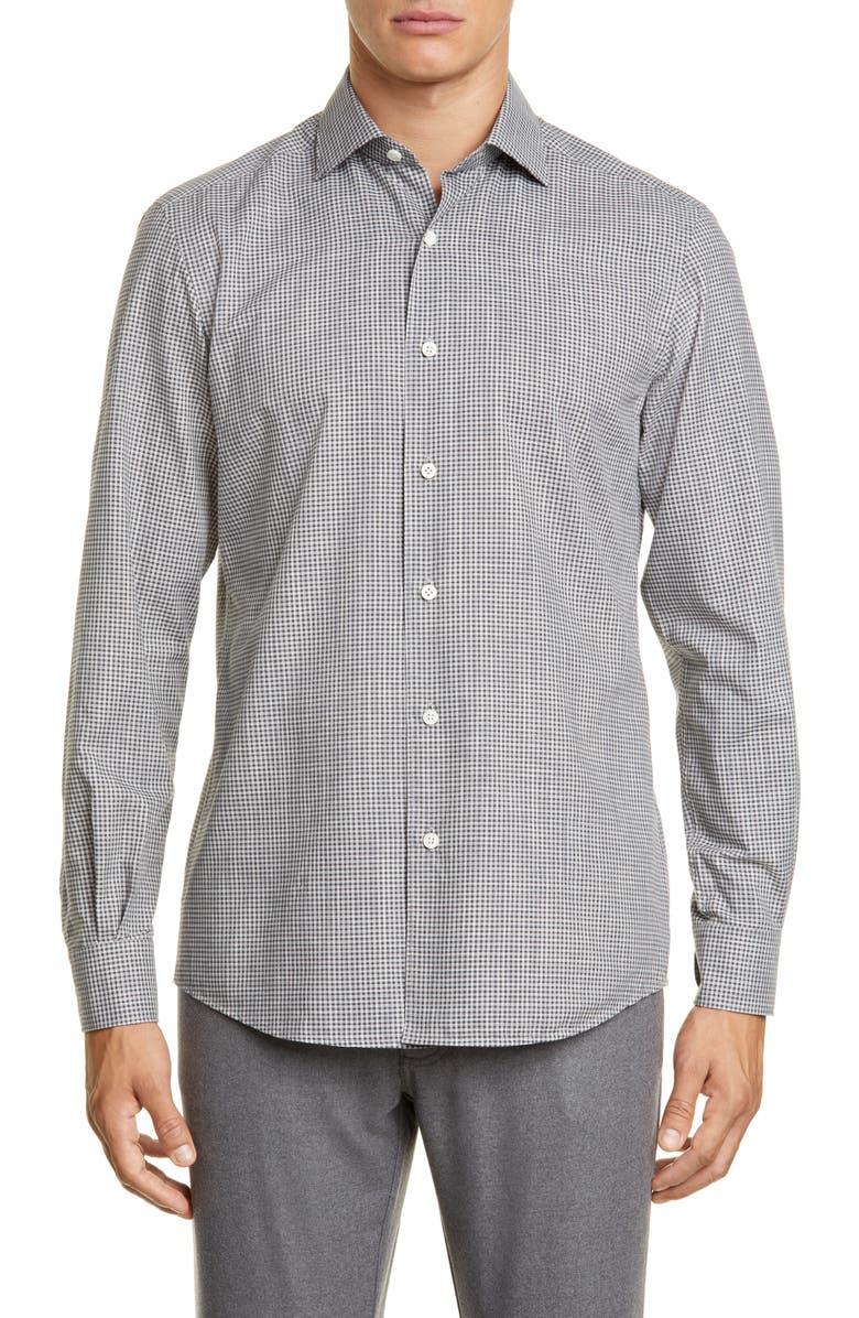 ERMENEGILDO ZEGNA Slim Fit Check Button-Up Shirt, Main, color, DARK GREY